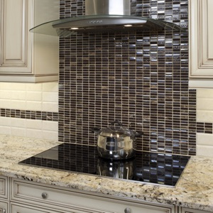 modern glass backsplash tile in kitchen