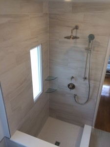 custom tile shower with fixtures
