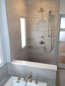 custom designed shower and tub