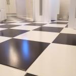 black and white floor tile installation