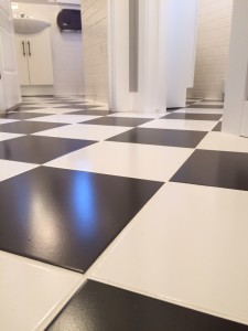 black and white floor tile installation
